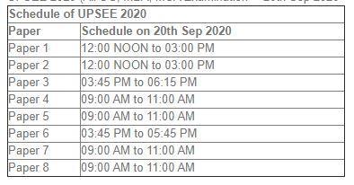 UPSEE admit card 2020 exam date