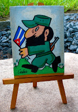 Photo: artist's painting of fidel castro. Tracey Eaton photo.