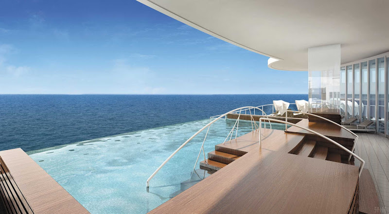 You can see for miles and miles in the Spa Infinity Pool on Seven Seas Explorer.