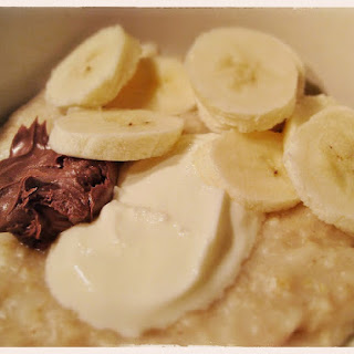Porridge with Nutella, Chopped Banana and Yoghurt.