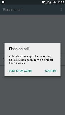 Flash on call - screenshot