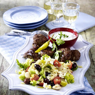 Lamb Medallions and Beef Meatballs with Greek Salad.