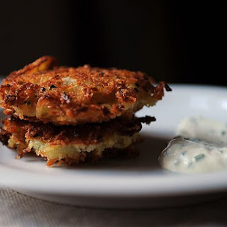 Golden Panko Latkes with Sour Cream and Chives.