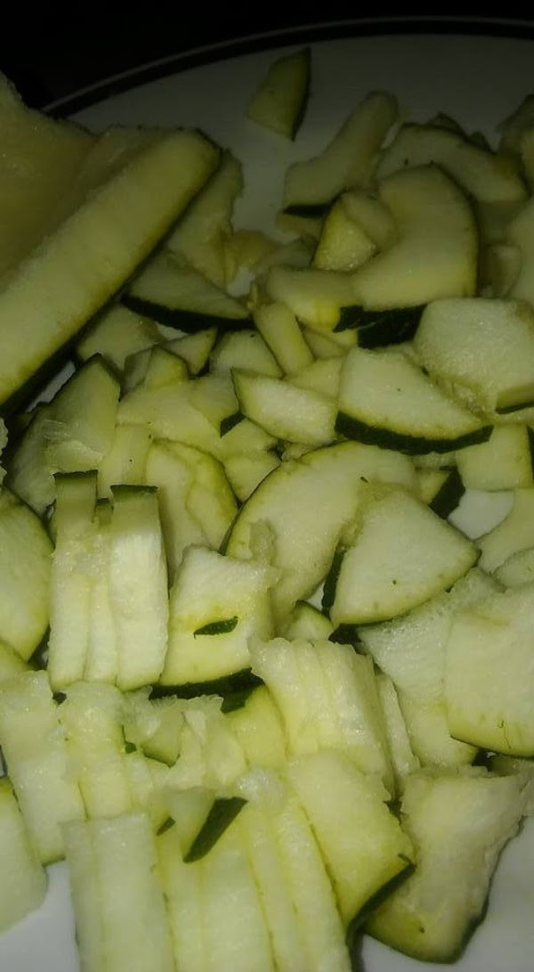 Chop up the zucchini into desired size pieces.
