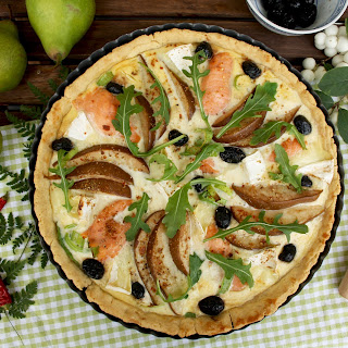 Salmon Quiche with Pears and Camembert