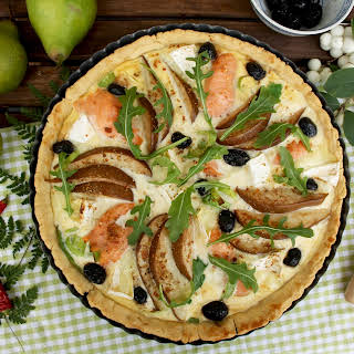 Salmon Quiche with Pears and Camembert.