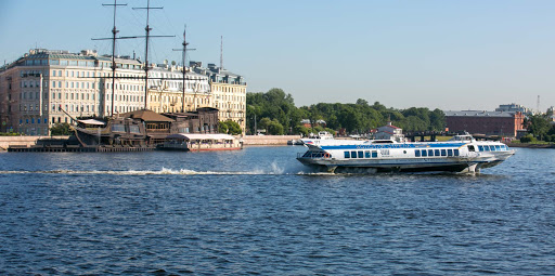 A speedboat on the Neva River in St. Petersburg, Russia.