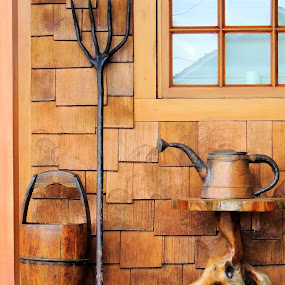 Vintage garden tools by Becky Luschei - Artistic Objects Other Objects ( watering can, tools, old, wood, vintage, artsy, bucket, pitch fork, table, porch, garden )