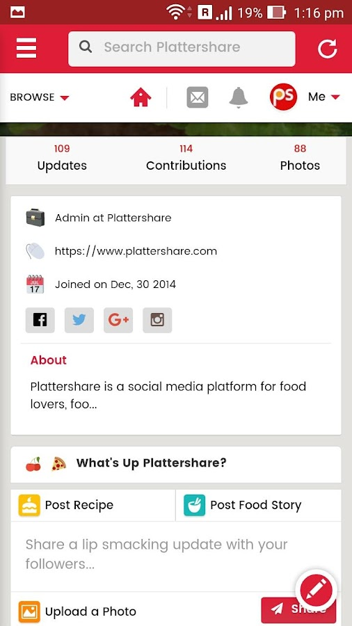 Plattershare- screenshot