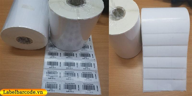 Giấy in mã vạch 3 tem 35x22mm x 3 tem 1 hàng dạng cuộn