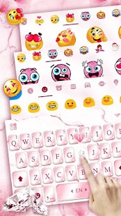 Pink Lovely Diamond Marble Keyboard Theme - náhled