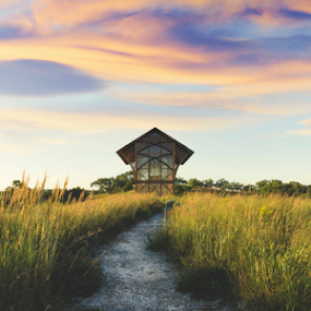 Holy Family Shrine by Christopher Pischel - Buildings & Architecture Places of Worship ( religion, peaceful, shrine, nature, spiritual, grass, holy-family, morning, prairie, worship, panorama )