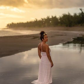 reflection  by Michel Vandermeersch - People Portraits of Women ( reflexion, golden hour, beach, sunset, water, photoshoot )