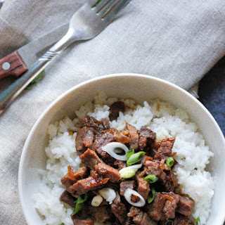 Caramelized Sweet Beef With Rice.