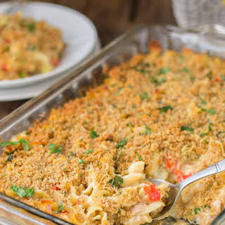 Lightened Up Cheesy Tuna Noodle Casserole.
