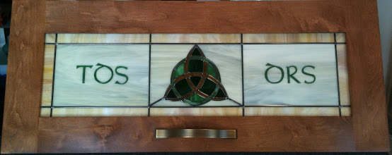 Photo: Celtic Trinity Knot Cabinet, Irish stained glass cabinet glass. Leaded glass, kitchen, curio, pantry, armoire. Custom handmade beautiful glass