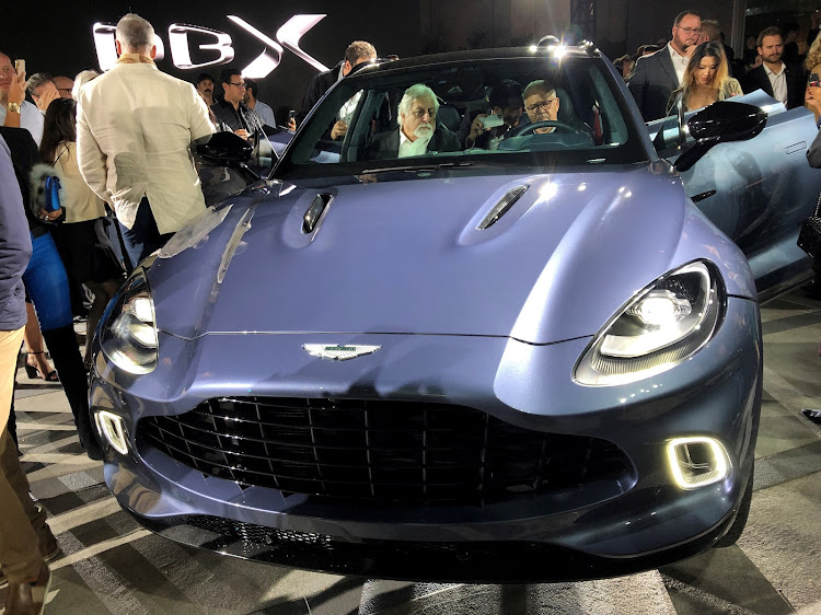 Aston Martin reveals its DBX sport utility vehicle at an event in Beverly Hills, California, in November 2019. Picture: REUTERS