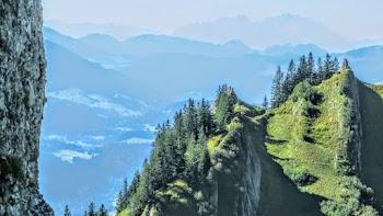 Bergsteig Blick zur Säntis, Schweiz Allgäu Nagelfluhkette
