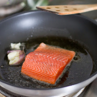 Pan Seared Salmon with Saffron Compound Butter.
