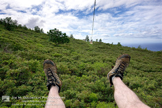 Photo: Maui Zip Line Adventure +1 if you like my legs LOL I took this in Maui with a new 1Ds Mark III back in 2008. I got it only a few days before and decided it was best served strapped to my chest for some fun on a zip line. I always say if you're not having fun behind the camera then its time to pick up a new hobby. You can never be too serious behind the camera.  At the time I took this photo I thought for sure this was as good as it could get, but a couple years later I visited Costa Rica and the zip lines at Selvatura put these to shame. And yes I did the exact same set up there. I'll post a photo from that trip next.