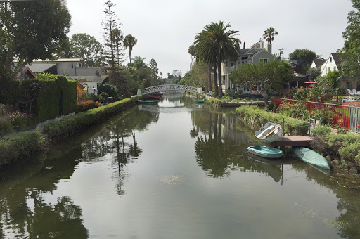 venice-canal6.jpg - A view from a footbridge spanning one of the canals of Venice, California.