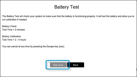 Battery Test screen with Run once selected