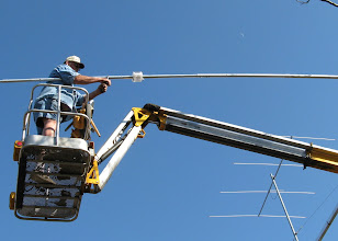 Photo: Tightening the bolta as the moon shines down from above...