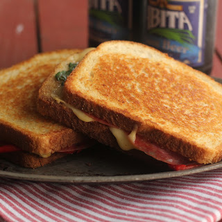 Grilled Fontina, Salami And Roasted Pepper Sandwiches.