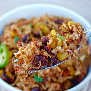 Slow Cooker Mexican Chicken and Rice Bowl.