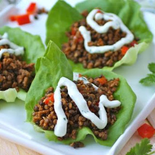 Homemade Soy Chorizo And Lentil Lettuce Wraps With Cilantro Cream