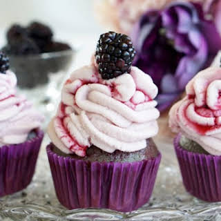 Healthy, Low-Fat Blackberry Poke Cupcakes with Non-Fat Blackberry Frosting and Blackberry Syrup.