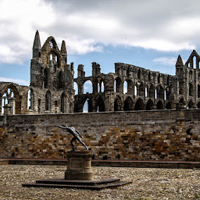 Whitby Abbey by Andrew Lancaster - Buildings & Architecture Public & Historical ( abbey, beautiful, church, dracula, whitby, statue, clouds, monument, worship, building,  )