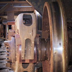 Wheely Close by Kirk Barnes - Transportation Trains ( rust, brake, close-up, wheel, train )