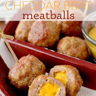 Cheddar Brat Meatballs + 3 Dipping Sauces.