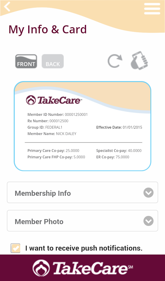 TakeCare app- screenshot