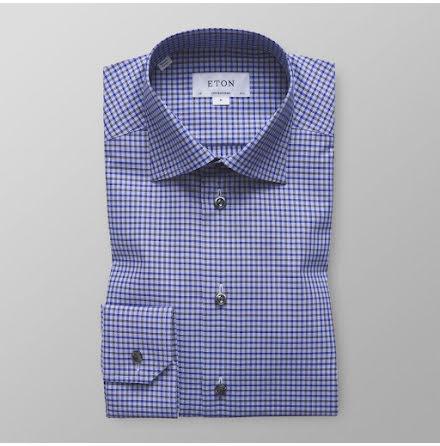 ETON blå och grårutig contemporary fit