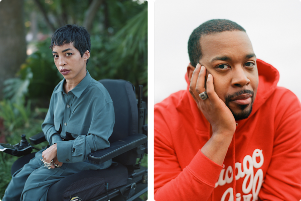 Side by side portraits of Jillian Mercado and Brent Lewis. Jillian is in her wheelchair with a wall of green plants behind her and Brent is in a red hoodie sweatshirt.
