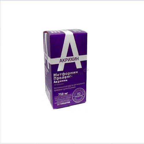 Метформин Пролонг-Акрихин таблетки п.п.о. с пролонг высвоб. 750мг 30 шт.