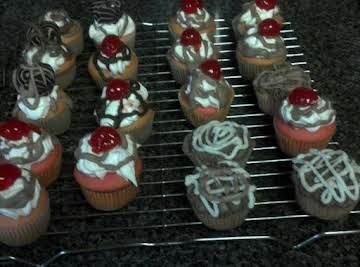 white chocolate cherry cupcake