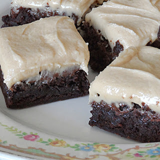 One-Bowl Fudge Brownies with Peanut Butter Frosting.