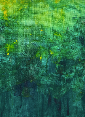 Abstract painting of a forest. From the top to bottom are yellow to a dark forest green, with different layers/depths painted into the image.