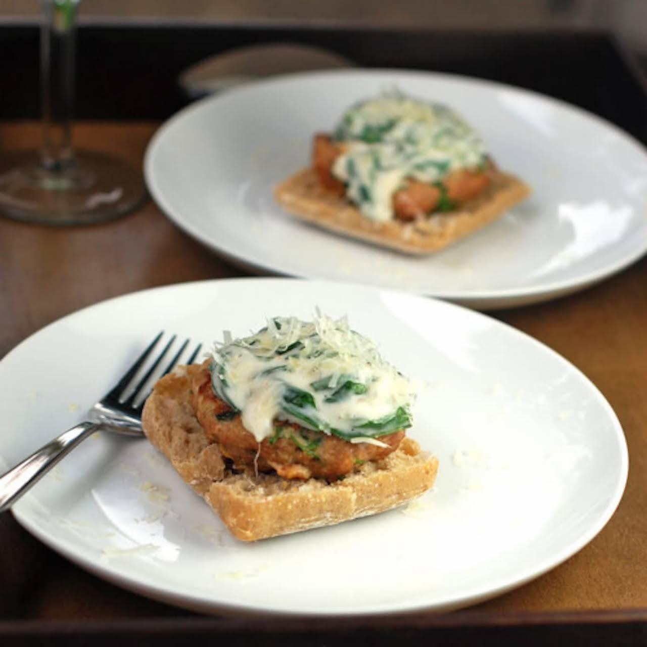 Garlic Parmesan Burgers & Creamed Spinach Sauce