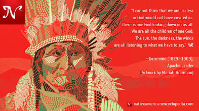 Photo: I cannot think that we are useless or God would not have created us. There is one God looking down on us all. We are all the children of one God. The sun, the darkness, the winds are all listening to what we have to say. —Geronimo (1829 - 1909), Apache Leader [Artwork by Mariah Hourihan]