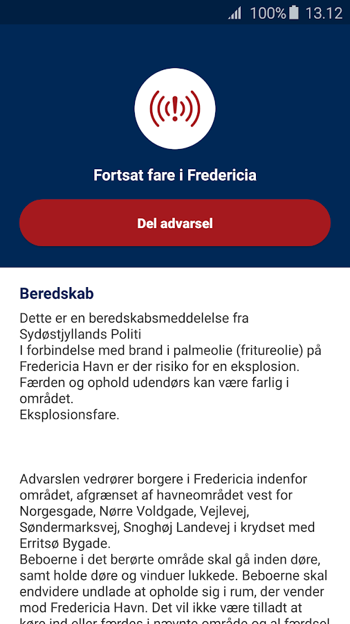 Mobilvarsling- screenshot
