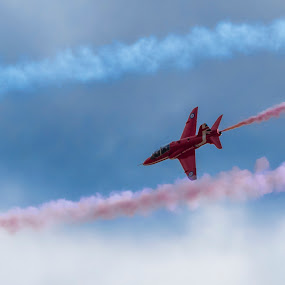 by Tristan Wright - Transportation Airplanes ( clouds, red, air force, aircraft,  )