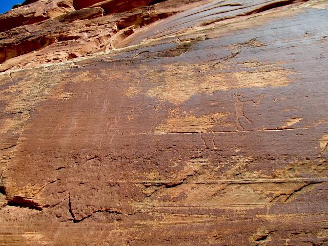 A very high petroglyph panel