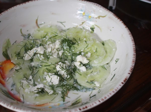Peel and thinly slice the cucumbers.Sprinkle with lemon juice,salt,pepper, and sugar.Mix in yogurt.Sprinkle with...