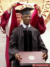 Photo: Prentice Gautt receiving his honorary doctorate from OU in 2003.