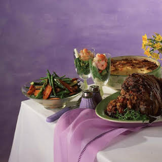 Leg of Lamb with Fennel, Bacon and Mushroom Stuffing.
