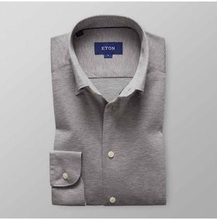 ETON grå skjorta i pikétyg slim